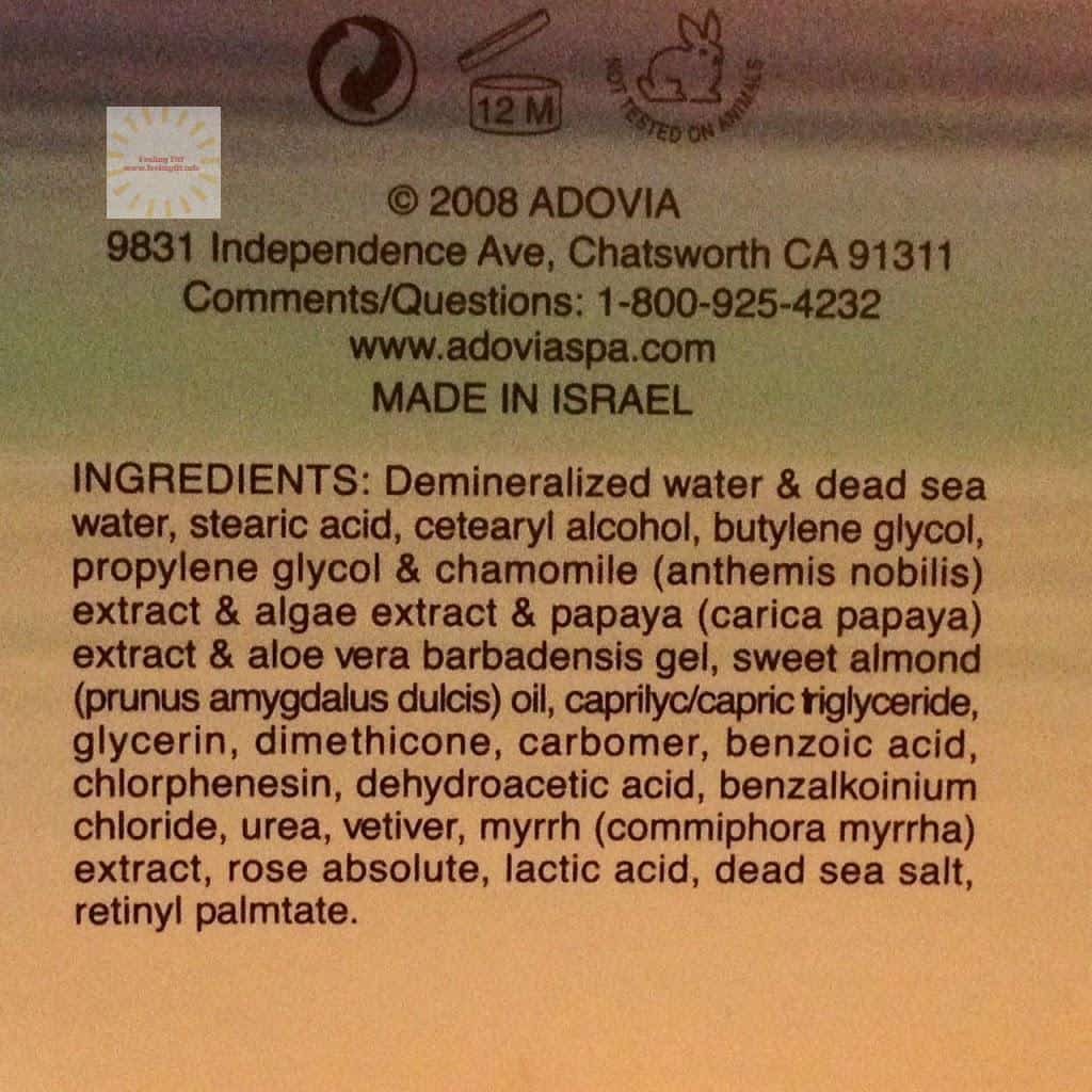 Adovia Intensive Anti Wrinkle Facial Moisturizer Cream  Ingredients