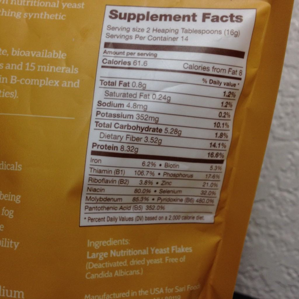 As the label shows, nutritional yeast is rich in B vitamins