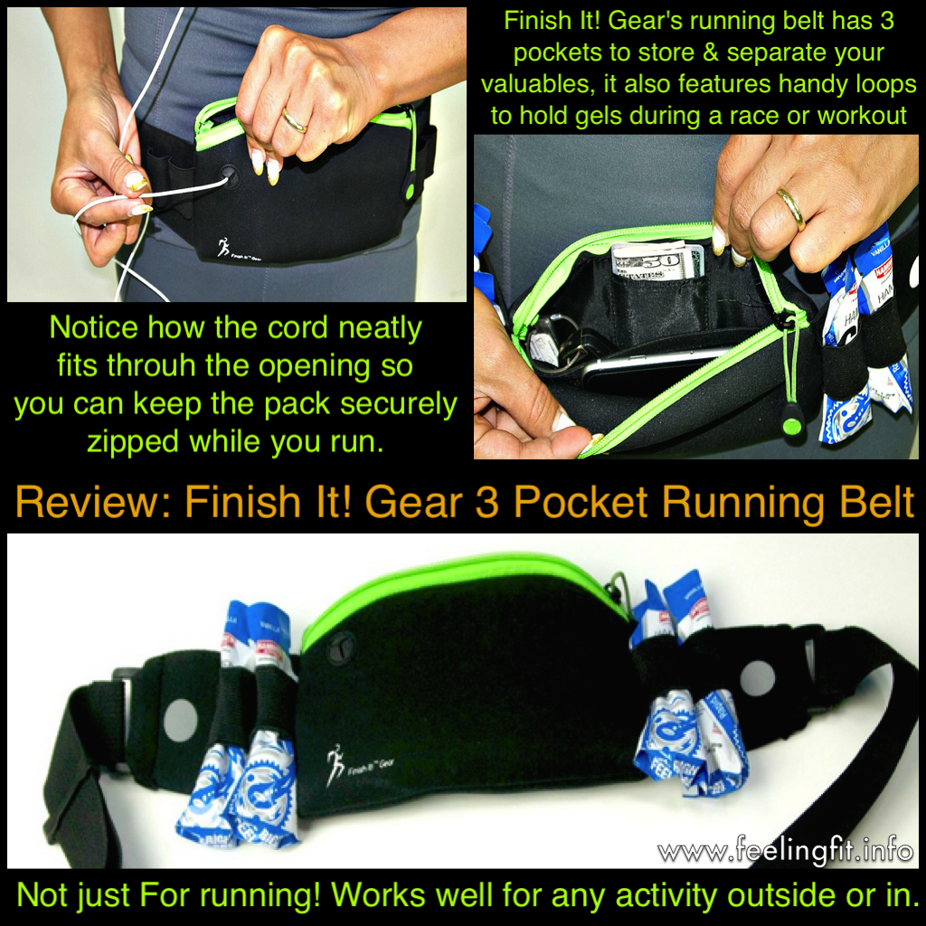 This collage highlight the functions and features for the Finish It! Gear Running Belt. Photographs are publicity photos from Finish It Gear! (I don't carry $50 bills!). Collage arranged by me, to highlight functions.