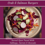 Recipe for crab and salmon burgers topped with fresh red cabbage, carrots, avocado and radishes from www.feelingfit.info