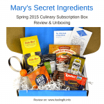 A review and unboxing for Mary's Secret Ingredients Spring 2015 culinary subscription box.