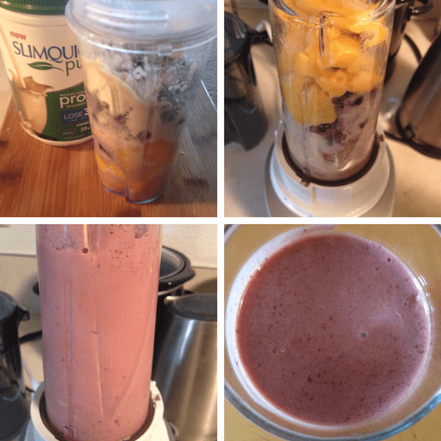 A mango, cherry smoothie
