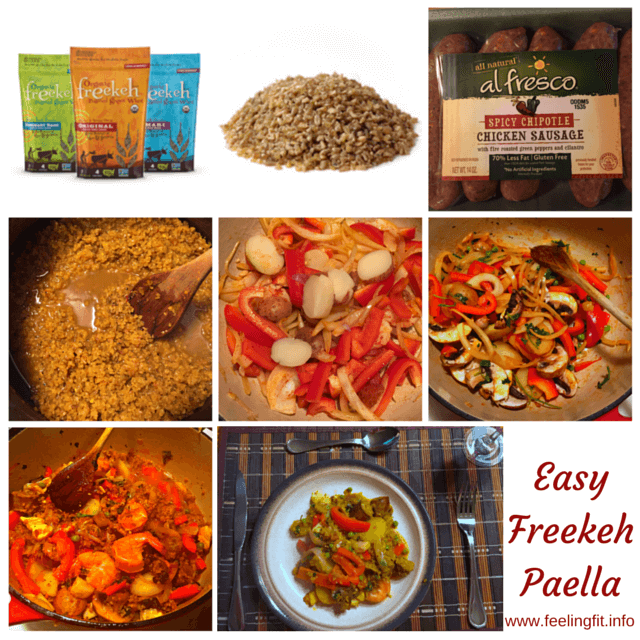 Easy Seafood Paella Recipe With Freekeh! See www.feelingfit.info for recipe and also to enter to win a cookbook and free freekeh from Freekeh Foods! The Giveaway closes 8/25/15. #foodie #fitfam #contest #promotional