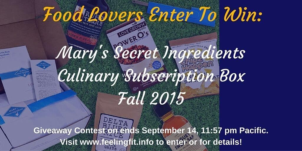 Mary's Secret Ingredients Fall 2015 giveaway on www.feelingfit.info ends 9/14/2015