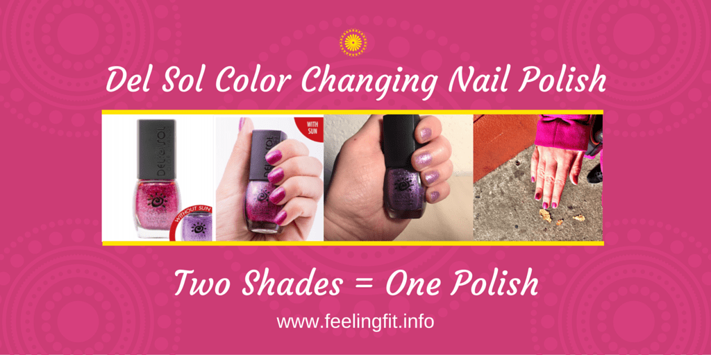 Del Sol Color Changing Nail Polish appears one color inside and a different color outside when exposed to day light. It is also a five free polish and never tested on animals. See the review on www.feelingfit.info