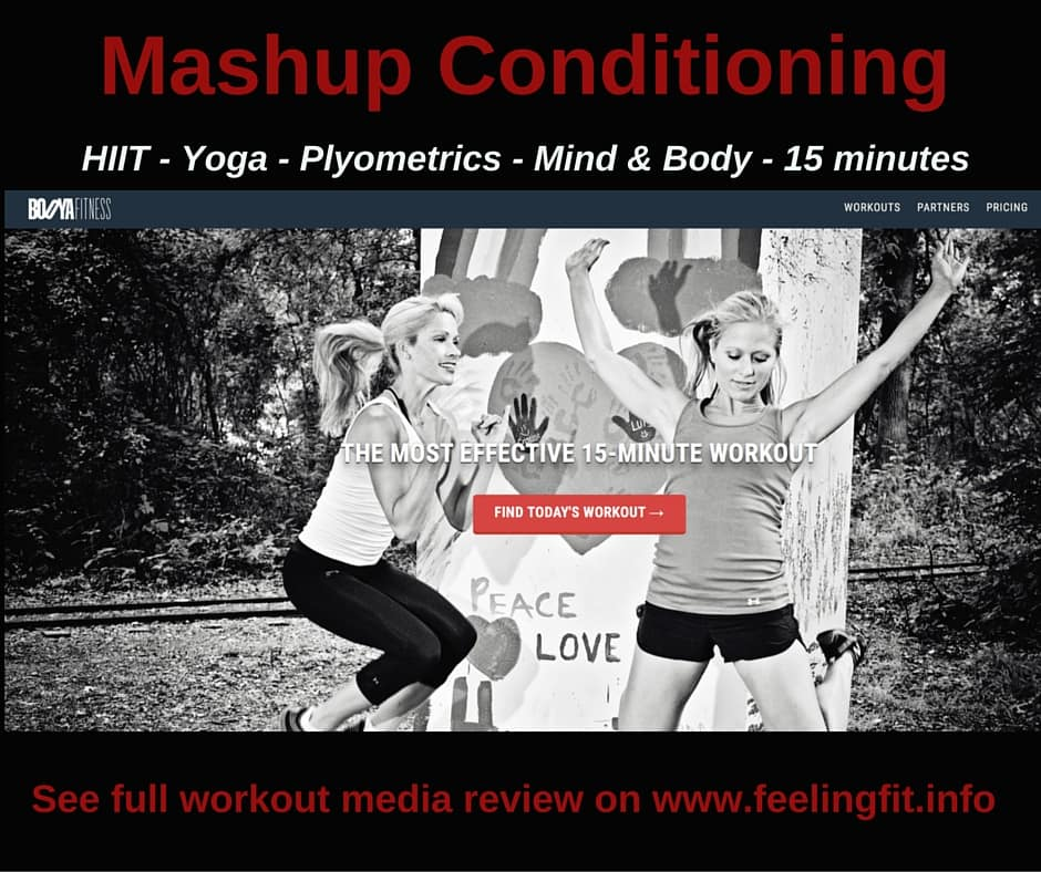 Mashup Conditioning is fast paced, 15 minute workouts fusing yoga, HIIT, plyometrics and other conditioning exercises.
